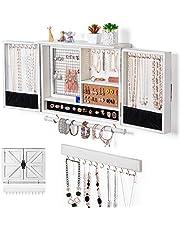 Sunix Organizador de joyas rústico, soporte de pared de joyas de malla, soporte de madera para collares, pulseras, pendientes, anillos, accesorios, joyero colgante (blanco)