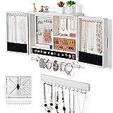 Sunix Organizador de joyas rústico, soporte de pared de joyas de malla, soporte...