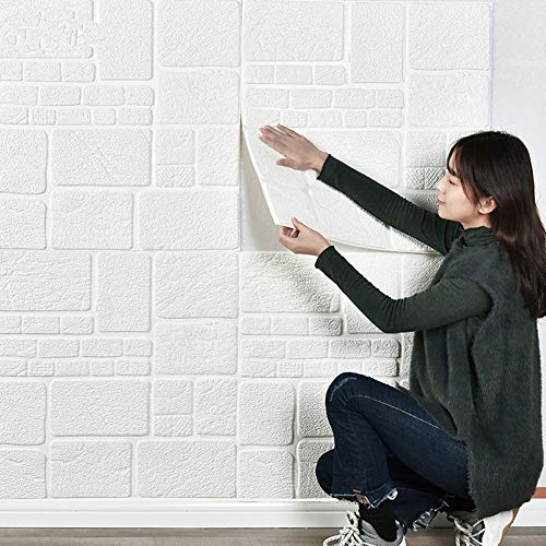 RAIN QUEEN クッションシート 壁紙シール レンガ調 防音シート 防水 壁紙 断熱 クッションブリック 部屋 壁 貼る のり付き おしゃれ 北欧 3D 立体 リビング 寝室 キッチン 洗面所 トイレ 発泡スチロール 70cm×70cm大判 白 クッ