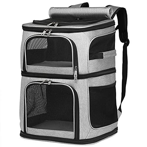 KADUNDI Mochila portadora de mascotas de doble compartimento para gatos y cachorros