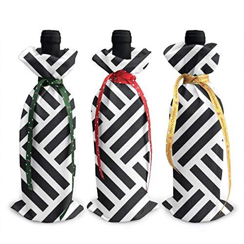 chengnan Weihnachten Weinflasche Abdeckung 3 Stück, Parkett-Schwarz Rotwein Flasche Abdeckung Taschen für Weihnachten Neujahr Hochzeit Weinprobe Party