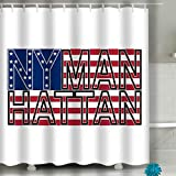Set de Cortina de baño con Ganchos - SPA, Hotel, Repelente al Agua NYC Manh Color Nueva York Manhattan Tipografía Fondo Bandera Americana Deporte Diseño de Moda Imprimir