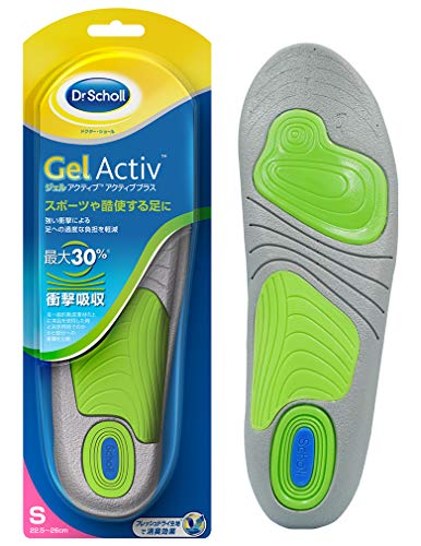 Insole Shock Absorption Insole Deodorant Dr. Scholl's Gel Active Active Plus For strong shocks such as exercise S (22.5cm-26.0cm)