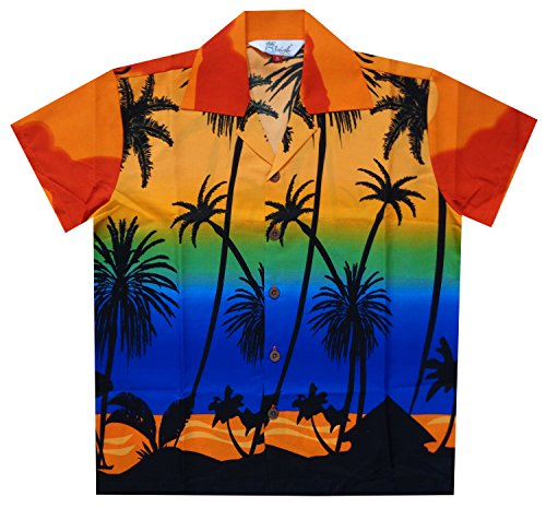 ALVISH Hawaiian Shirts 42B Boys Coconut Beach Aloha Party Camp Orange S