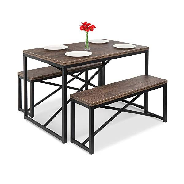 Best Choice Products Bench Style Dining Table Furniture Set