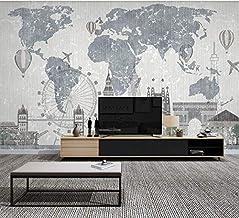 3D Murales Papel Pintado Pared Calcomanías Decoraciones Mapa Mundial, Edificio De La Ciudad Sala De Estar Arte Dormitorio De Los Niños (W)400x(H)280cm
