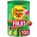 Chupa Chups - Tubo 100 Sucettes aux Fruits - Parfums Pomme, Fraise, Orange, Cerise - Sucettes à la Pulpe de Fruit - Idéal pour Fêtes d'Anniversaires -  Boite Chupa Chups de 1,2 Kg