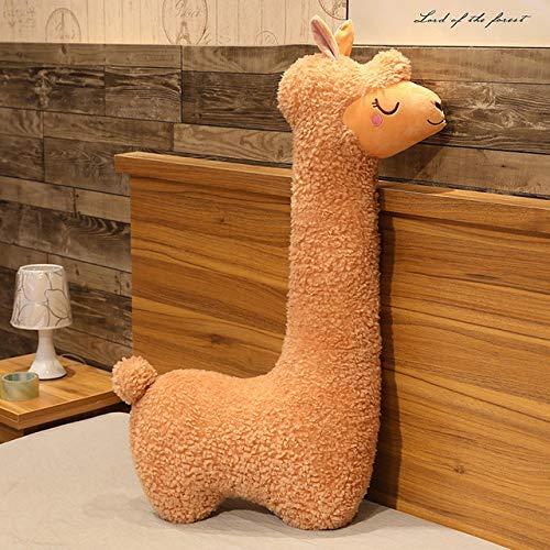 Heguowei 75-130cm Riesen Kawaii Alpaka Plüschtiere Sofa Dekor Weiche Schöne Schafskissen Kuscheltiere Puppen für Kinder Mädchen Geburtstagsgeschenke braun 75cm