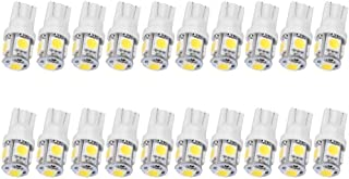 JKLcom T10 194 LED Bulbs 20 Pack T10 Wedge 168 2825 W5W 5050 5 SMD LED White 12V Car LED Light Bulb Car Interior Light for Map Dome Lamp Courtesy Trunk License Plate Dashboard Parking Lights