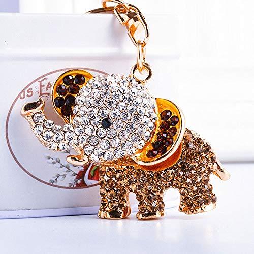 Animal llaveros Elefante Cristal Llavero Bolso Accesorios Coche Llavero Llavero llaveros llaveros para Mujeres Hombres, 1pcs (Color : Yellow)