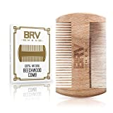 Beard Comb - Natural Solid Beechwood - Works Perfectly with Your Beard Oil and Beard Balm - Comes with Carry Case, Pocket Size - Wooden Comb - For All Types and Styles of Hair - BRV MEN