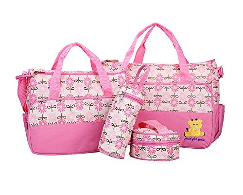 Gladiolus 5Tlg Babytasche Set Pflegetasche Tragetasche Wickeltasche Windeltasche Rucksack Pink