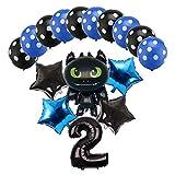Kfdzsw Ballons 16 pcs Dessins animés Ballons de Dragon 32 Pouces Nombre hélium Ballon Joyeux Anniversaire décorations décorations Enfants Jouet globos Baby-Douche Ballon Fête (Color : Black 2)
