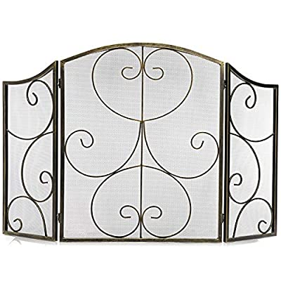 DOEWORKS 3 Panel Heavy Duty Fireplace Screen Safety Fire Place Fence Spark Guard Cover Bronze from DOEWORKS
