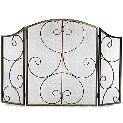 DOEWORKS 3 Panel Heavy Duty Fireplace Screen Safety Fire Place Fence Spark Guard Cover Bronze