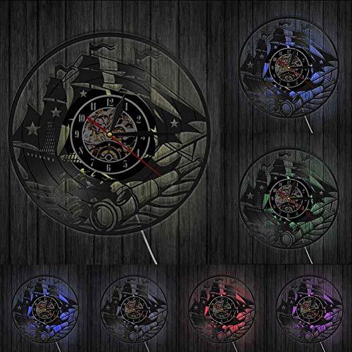 SSCLOCK Barco de Vela Arte de la Pared Diseño del yate Inicio Reloj de Pared de la Nave Reloj de Pared de Registro de Vinilo de la Vendimia Reloj de Pared del telescopio Marina Scene