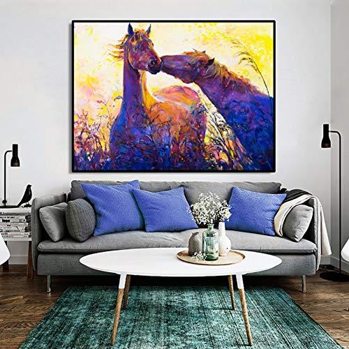 YuanMinglu Dos Caballos en el Beso Superior Lienzo Arte Pintura al óleo Lienzo Mural póster e impresión Mural Pintura al óleo Animal Pintura sin Marco 45x61cm