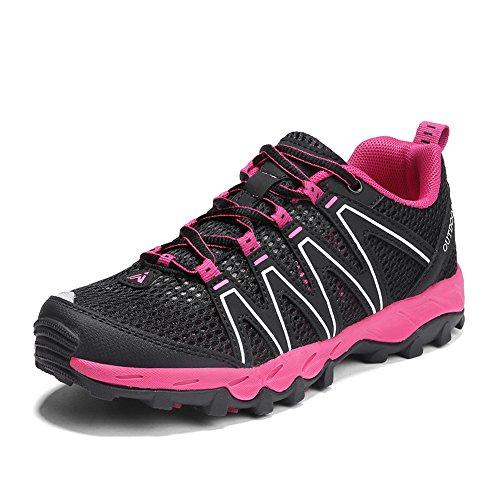 Zapatillas Senderismo Hombre Mujer Zapatillas Trekking Mesh Transpirable Sneakers Casual Zapatillas de Deporte Rose Red 39