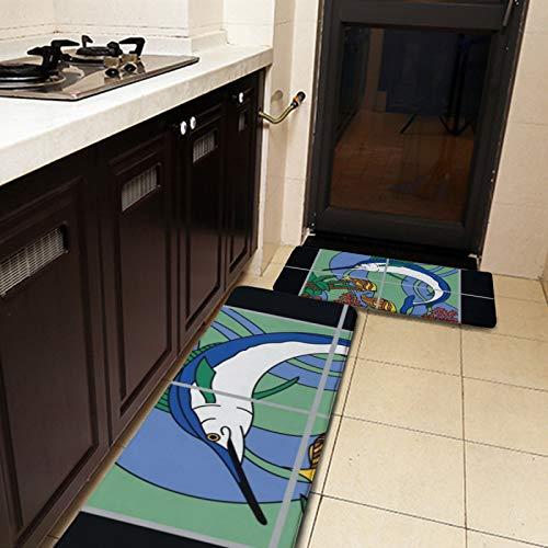 2 Stück Küchenteppiche und Matte, Catalina Island Marlin-Design, Küchenmatte, rutschfest, weich, saugfähig, Teppich-Set für Küche, Boden, Badezimmer, Waschbecken, Wäsche, Büro