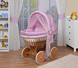 WALDIN Cuna Moisés, carretilla portabebés XXL, 44 colores a elegir,Madera/ruedas lacado,color textil rosa/a cuadros