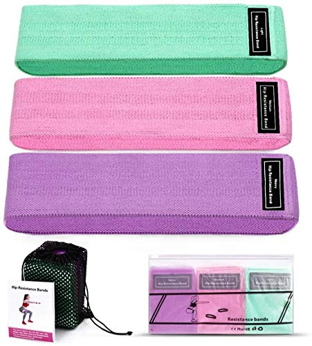 Blesnow Bandas de Resistencia (Set de 3), Bandas Elasticas de Fitness para Yoga, Pilates, Bandas Antideslizantes de Ejercicios para Fuerza de piernas y glúteos
