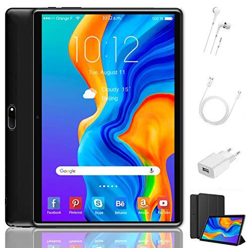 Tablet 10 Pulgadas 4 GB RAM 64GB/128GB ROM Android 9.0 Ultrar-Rápido Tablets 4G Dual SIM/WiFi 8000mAh Batería Quad Core (GPS, Bluetooth, OTG, Netfilix,Type-C) - Certificación Google GMS