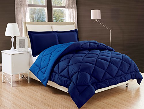 Elegant Comfort All Season Comforter and Year Round Medium Weight Super Soft Down Alternative Reversible 3-Piece Comforter Set, Full/Queen, Navy Blue/Light Blue
