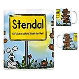 Stendal - Einfach die geilste Stadt der Welt Kaffeebecher Tasse Kaffeetasse Becher Mug Teetasse Büro Stadt-Tasse Städte-Kaffeetasse Lokalpatriotismus Spruch kw Paris London Magdeburg Wolfsburg