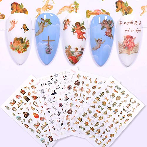 Angel Pattern Nail Stickers 3D Self-Adhesive Baby Angels Nail Decals Baroque Flower Leaf Nail Art Stickers Colorful Mixed Angel Manicure DIY Nail Decorations for Women Girl (4 Sheets)