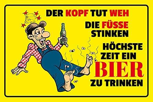 Kopf tut weh Füsse stinken Zeit Bier zu trinken Reim Beer Cartoon Blechschild Metallschild Schild gewölbt Metal Tin Sign 20 x 30 cm