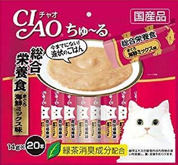 チャオ (CIAO) 猫用おやつ ちゅ~る 総合栄養食 まぐろ 海鮮ミックス味 14g 20本入り × 16個セット