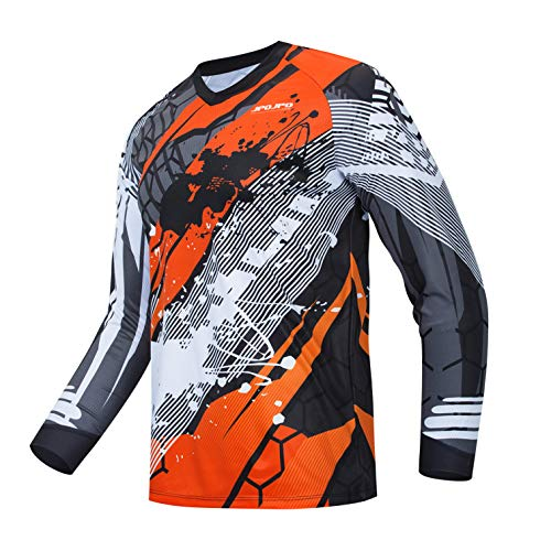 weimostar Cycling Jersey Men's Mountain Bike Motocross Jersey long sleeve MTB T-Shirt Downhill Tops Sports racing blouse orange L