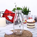 Tableclothsfactory 12 Pack 11 Oz Clear Glass DIY Decorative Favor Gift Milk Bottles with Lids for Wedding Party Favor Decor