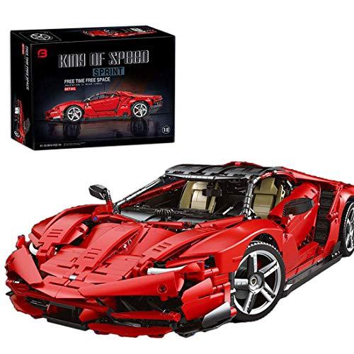 Technic bloques de construcción coche 3874pcs 1: 8 Technic coche deportivo estático Compatible con tecnología Lego (Rot)