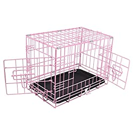 Greenbay Pet Puppy Crate Folding Dog Training Travel Cage with Detachable Tray 18″ Pink