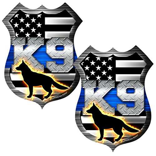 AZ House of Graphics Thin Blue Line K9 Dog Shield Sticker 2 Pack #FS2047