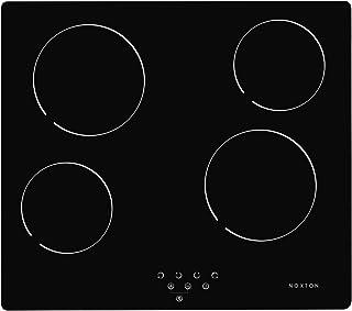 NOXTON Table de Cuisson 4 foyers en Céramique Built-in 60cm de Cuisson électrique Plaque de Cuisson en Verre Noir Avec le ...