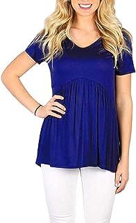Women's Babydoll Blouse Flare Tunic Loose Fitting Peplum Tops Short Sleeve Cute Shirts