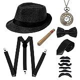 LADES DIRERCT 1920s Herren Accessoires - Kostüm Zubehör Set Mit Panama Gangster Hut Verstellbar Y-Back-Hosenträger Fliege Halsschleife Taschenuhr Und Plastik-Zigarre (Set-6)