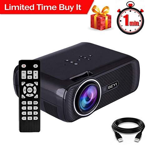 Proiettore LCD da 2800 Lumen, BEYI Mini Videoproiettore Home Theater Multimediale, Supporta 1080P Full HD, HDMI, VGA, USB, SD, AV e Interfaccia Cuffie, Incluso HDMI e Cavo AV, Nero
