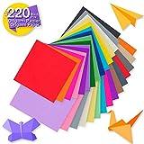 Tritart Origami Papier I 220 Blatt doppelseitiges Origami Faltpapier in 50 kräftigen Farben I Bastelpapier Set 80 g/m² I Je 110 Blätter 15x15cm / 10x10cm I inklusive 100 Wackelaugen
