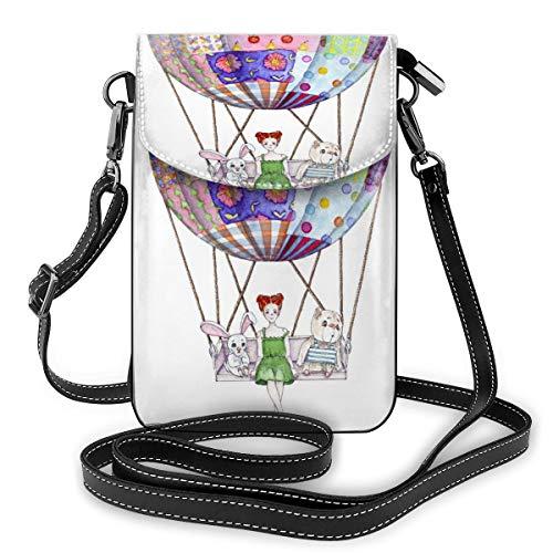 Mädchen mit Spielzeug im Luftballon von Patchwork-Decke, kleine Umhängetasche, Handtasche – Frauen PU-Leder Handtasche mit verstellbarem Riemen für den Alltag