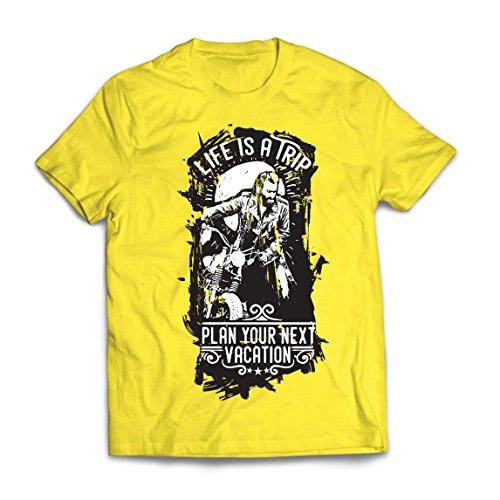 lepni.me Camisetas Hombre la Vida es un Viaje - Ideas de Regalos para Moteros, diseño gráfico de Bicicletas Vintage, amar Las Motocicletas (XX-Large Amarillo Multicolor)