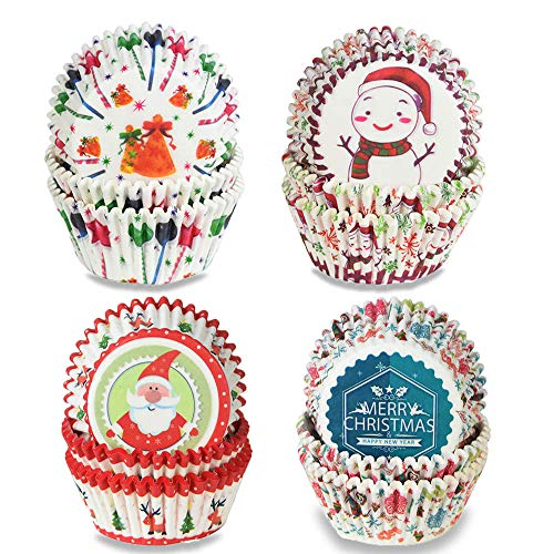 400 Pieces Christmas Cupcake Liners Muffin Liners Christmas Cupcake Wrappers Paper Baking Cups, Standard Size Cupcake Cups Holiday Party Christmas Baking Supplies