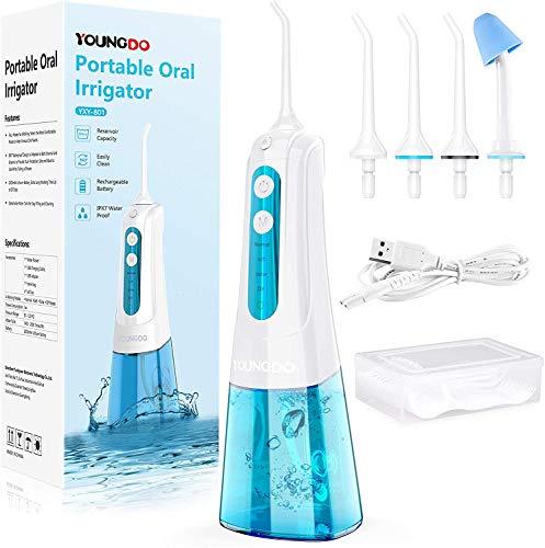 YOUNGDO Irrigador Bucal Portátil 300ML, Irrigador Dental Profesional con 4 Modos de Limpieza y 4 Boquillas Giratorias, IPX7 Impermeable Recargable por USB, para Cuidado de Salud Dental en Casa/Viaje