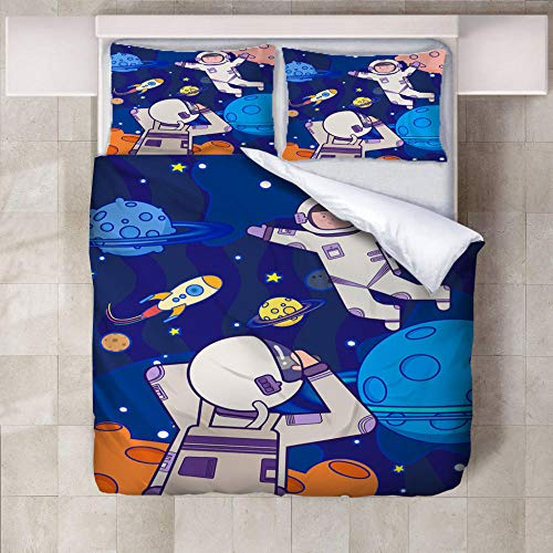 Set Copripiumino Astronauta del Fumetto Set di Biancheria da Letto Copri Piumino Anallergico in Microfibra PCS con Chiusura A Zip per Adulti 220cm x 230cm