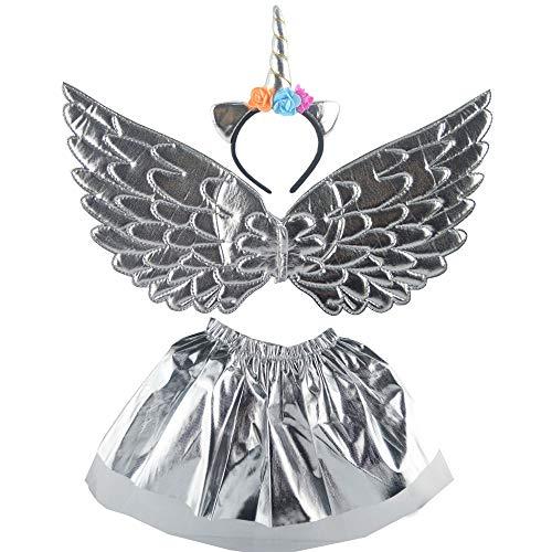 Disfraz de Unicornio Juego de disfraces de 3 piezas para niños en 3 colores diferentes - alas, cinta para el pelo y falda perfecta para el carnaval y el cosplay (Style 2)