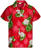 King Kameha Funky Casual Camisa hawaiana para hombre, bolsillo delantero, con botones, manga corta, unisex, estampado de flores pequeñas -  Rojo -  4X-Large