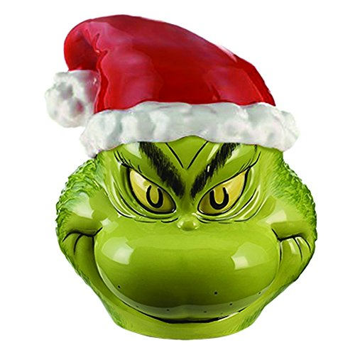 Vandor Dr. Seuss Grinch Sculpted Ceramic Cookie Jar Canister, 9 x 10...