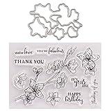Flower Thank You Seal Stamp con troqueles de corte Set de plantillas DIY Scrapbook Grabar corte